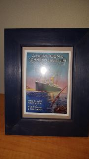 Small retro style postcard size print with boat Aberdeen & Commonwealth ship line England to Australia, framed