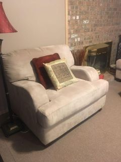 Microfiber Beige Couch & Chair (2 Picts)