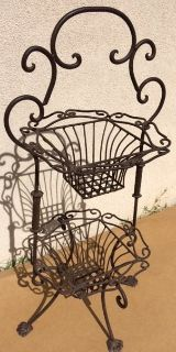 Wrought Iron 2-Tiered Baskets