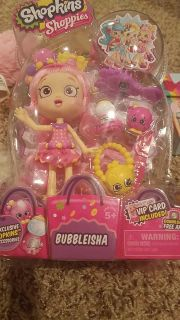 New Shopkins shoppies bubbleisha with two exclusive Shopkins and accessories!