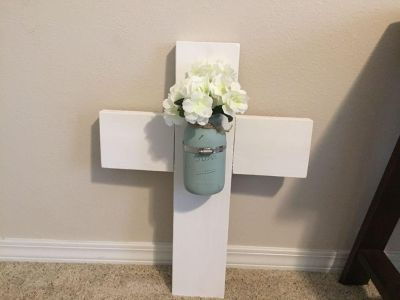 Hanging Wooden Wall Crosses with Mason Jar and Flowers