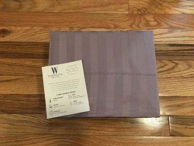 Wamsutta 500 Thread Count Queen Sheet Set. Striped Purple. Brand New but not in Package.