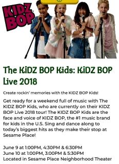 Two tickets to Kidz Bop VIP lunch at Sesame Place 6/9