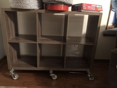 Large Washed Grey Wood Cubby System on Wheels Threshold Brand from Target