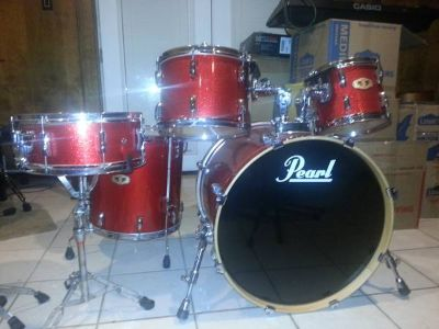 RED PEARL VISION Maple Drum Set