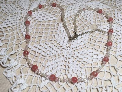 Vintage Necklace Family Piece Light Pink and Aurora Borialis Finish Moonstone Type Beads