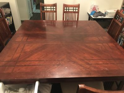Large Square Wooden Table, Seats 8 with 8 Chairs