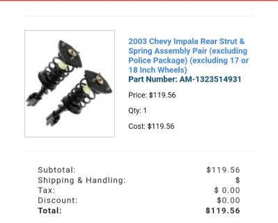 03 Chevy Impala rear strut and spring assembly pair