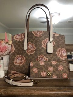 Coach Charlie Carry All Signature Rose Print Purse Wallet Set