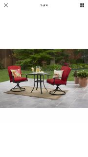 Patio furniture one blue set and one red