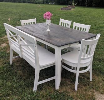 FARMSTYLE DARK STAINED COUNTRY WHITE TABLE ($225), BENCH ($150), AND CHAIRS ($50 EACH) SET