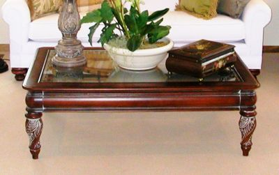 Coffee Table Cherry Wood Glass Top Traditional Very Good Condition