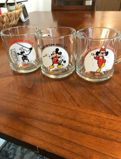 3 Disney Mickey Mouse Glass Mugs Steamboat Willie, Mickey Mouse Club & Magician Mickey