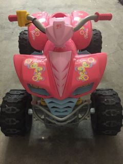 POWER WHEELS KAWASAKI KFX QUAD ATV Battery Operated Ride On Toy Barbie PINK CAR