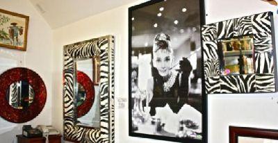 $25 Zibra Mirrors W/ Matching Tables & Audrey Hepburn Framed