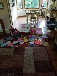 Tons of doll furniture and clothes