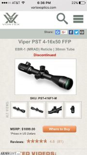 For Trade: Vortex Viper PST 4-16x50 FFP