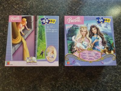 2-24pc Barbie Puzzles (Mattel) reccomended for ages 3-7. All pcs Included. Excellent Condition. *Price is for both*