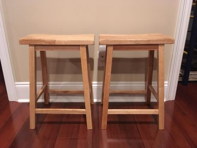 New Set of Two Counter Height Wood Saddle Seat Bar Stools