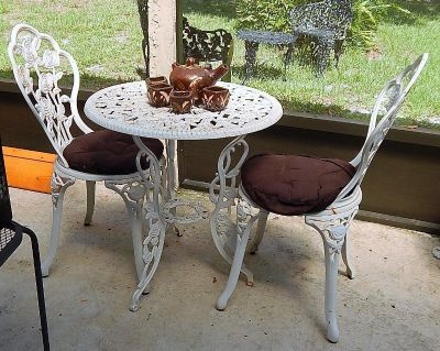 Cast Iron - 3 pc Table & Chairs