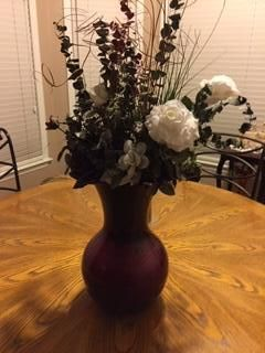 BURGUNDY GLASS VASE/ARRANGEMENT