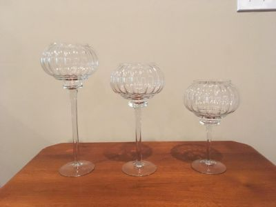 Like New Set of Three Glass Candle Holders