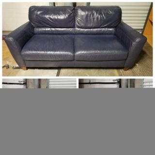 """Large 2 seater genuine leather sofa- some minimal wear - pet friendly home 79"""" l x 36""""d x 35""""t"""