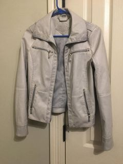 Light grey/cream colored leather jacket