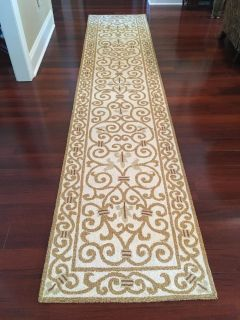 """New Safavieh Chelsea Collection Hand-Hooked Ivory and Gold 2'6"""" x 12' Wool Runner"""