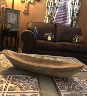 Beautiful Huge Wooden Boat Tray/Bowl