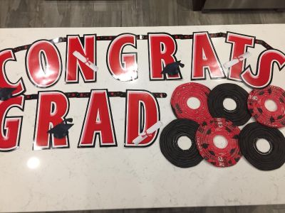 Red and Black Graduation Banner and Six Lanterns