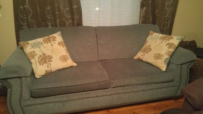 Couch with throw pillows