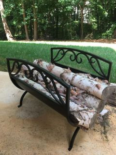 Wrought Iron Log Carrier - Substantial and Like New