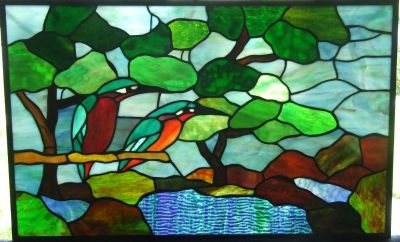 Stained Glass Picture ~ Exotic Rain Forest Jungle Birds