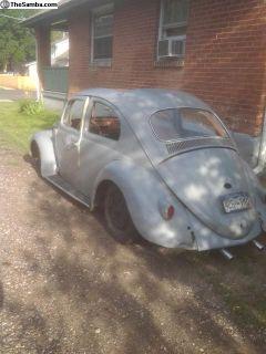 '59 bug ragtop body and pan no engine