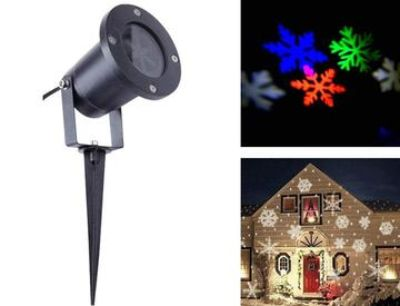 Led multi color snowflake projector light