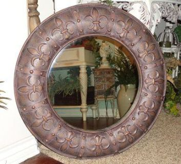 "Large Ornate 32"" French Country Fleur De Lis Wall Decor Mirror"