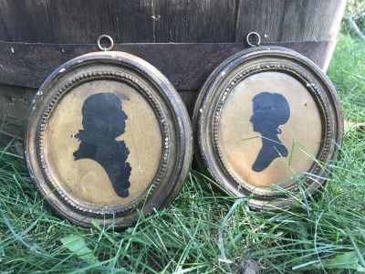 Beautiful Primitive Antique Vintage Silhouette Pictures Borghese Hall House New York Pair of 2