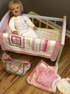 Lee Middleton Doll and cradle pottery barn accessories