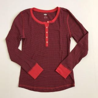 Old Navy Women s M Henley Tee Shirt Waffle Knit Red Blue Striped