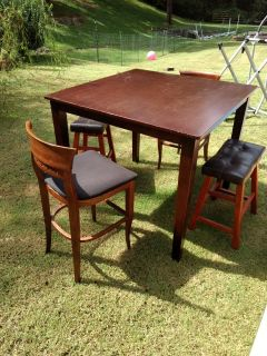 Solid wood bar height table and chairs n stools