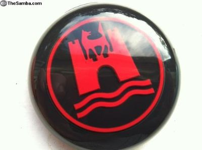 Black and Red Horn button