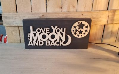 """""""Love You to the Moon and Back"""" sign"""