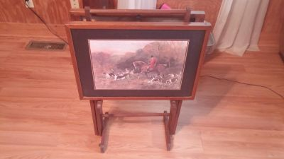 2 fox hunting table trays with rack