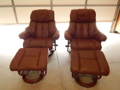 2 Brown Leather Recliners with Matching Footstools