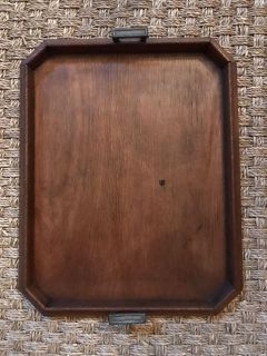Vintage wood tray with handles
