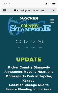 Country Stampede 3 day General admission tickets x 2 and parking pass