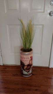 Large ceramic rooster vase with Greenery