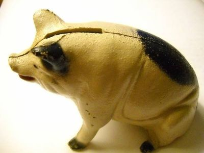 Antique Cast Iron Seated Pig Bank