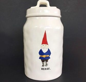 Rae Dunn Christmas Canister Merry With Elf Gnome Red And Blue